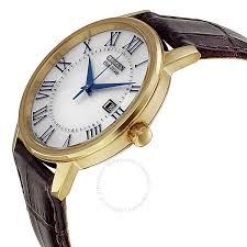 citizen eco drive silver dial gold tone brown leather men s watch bm6752 02a
