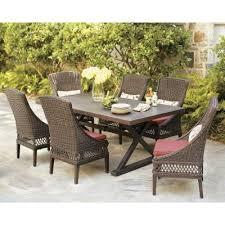 7 piece patio dining set. Hampton Bay Woodbury 7-Piece Patio Dining Set With Dragon Fruit Cushions, Seats 6 7 Piece G