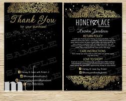 thank you care card honey and lace post card postcard black gold lace design