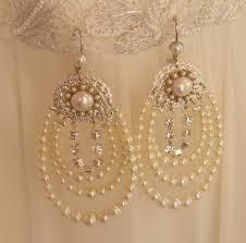 elegant rhinestone pearl chandelier earrings elegant view larger