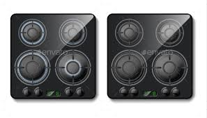 Vector Realistic Gas Stove Top View by vectorpocket GraphicRiver