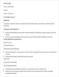 Sample Resume Auto Mechanic Automobile Resume Templates 25 Free Word Pdf Documents