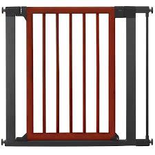 munchkin wood and steel designer gate dark woodsilver  baby