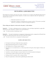 Cover Letter Developing A Job Objective Resume Instructions