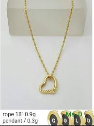18k pure saudi gold necklace and pendant