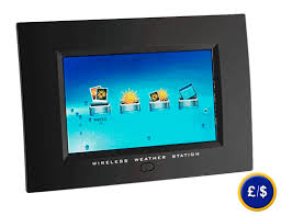 digital weather station with picture frame viewer with wireless transmission of outdoor temperature sensors