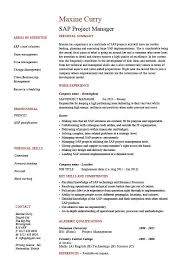 Manager Responsibilities Resume Sap Project Manager Resume Sample Job Description Career History Cv