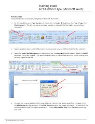 Microsoft Word Apa Header Running Head Apa Citation Style Microsoft Word