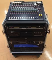 sound system rack. pro sound system installed in portable rack s