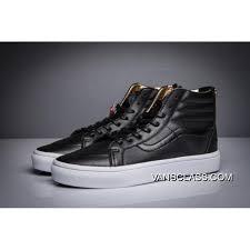 vans premium leather sk8 hi zip slim classics luxury gold black mens shoes best