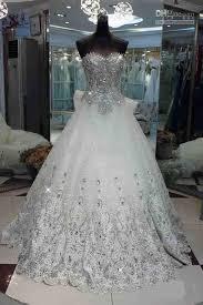 rhinestone wedding dress. Discount Luxurious A Line Strapless Organza Applique Court Bowkont