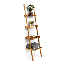Relaxdays Leiterregal Bambus Hxbxt 176 X 44 X 37 Cm 4 Stufiges Standregal Mit Ablagen Als Dekoratives Regal Für Das Arbeitszimmer Und Wohnzimmer Als