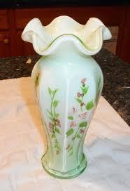 fenton apple green overlay white milk glass vase hand painted roses