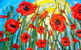 3d popping poppies impasto pallet knife acrylic tutorial