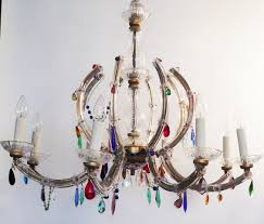 8 arm marie therese hung with multicoloured glass