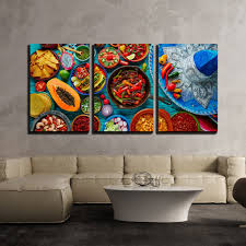 mexican food mix colorful background mexico and sombrero x3 panels favorite canvas art on wall art pictures of food with mexican food mix colorful background mexico and sombrero x3 panels
