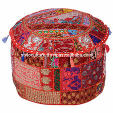 floor seating indian. Patchwork Cotton Ottoman Pouf Cover Embroidery Floor Cushion Decor Art Ethnic Seating Covers Footstool Indian