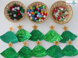 Christmas Tree In Chart Paper Paper Plate Christmas Tree Counting Decoration Learning 4 Kids