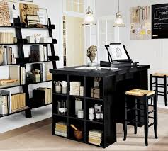 wall mounted home office. Home Office Black Stained Wooden Work Desk Cupboard Finish Wall Mounted Open Bookshelves Barstool