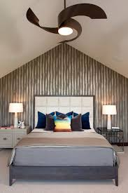 Bedrooms:Attic Bedroom With Gray Modern Bed And Mismatched Nightstands Feat  White Table Lamps Attic