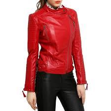 women s biker asymmetrical padded sleeves red leather jacket zoom women s