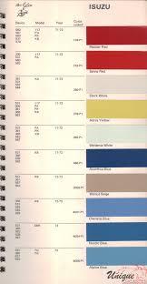 Isuzu Colour Chart Isuzu Paint Chart Color Reference