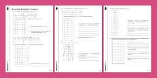 graphs of quadratic equations worksheet