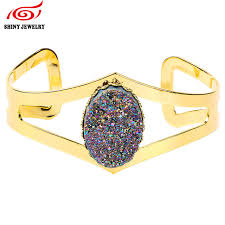 2016 indian bangles rainbow oval natural druzy quartz h women bracelet gold plating cuff whole geode stone jewelry