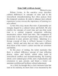 time talks an accent time talk s an accent robert levine robert levine in the narrative essay describes culture