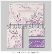 Wedding Invitation Card Set Thank You Stock Vector Royalty Free