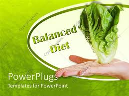 Balanced Diet Chart Ppt Powerpoint Template Hand Holding White Lettuce And Green