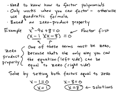 some key topics that involve solving quadratic equations by factoring