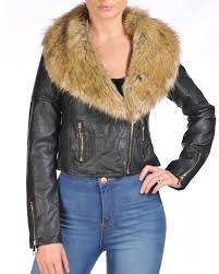 las women faux fur collar synthetic leather oversize