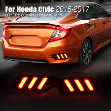 Civic Rear Bumper Light Allinoneparts Led Back Bumper Light Rear Lights Lamp Kit For Honda Civic 10th 2016 2018 Not Fit The Hatchback