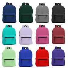 "<b>Wholesale</b> 15"" Kids Basic Backpacks <b>in 12 Assorted Colors</b> - <b>Bulk</b> ..."