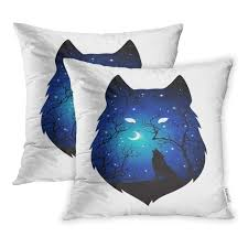 Amazoncom Emvency Set Of 2 Double Exposure Silhouette Of Wolf In
