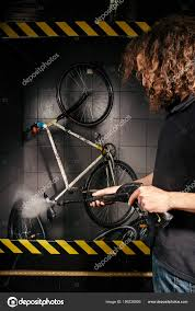 Bicycle Water Pump Design Services Professional Washing Bicycle Workshop Close Hand