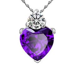 18 sterling silver purple amethyst heart crystal cz pendant necklace gift box