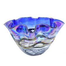 hera medium cobalt blue decorative glass bowl