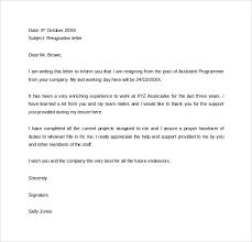 Sample 2 Week Resignation Letter