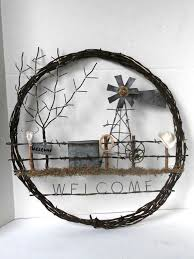 barb wire wreath western theme welcome sign by mustangrescue