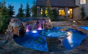 home swimming pools at night. High-tech Lighting Home Swimming Pools At Night