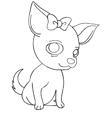 Small Picture Chihuahua Dog with a Bow Coloring Pages NetArt