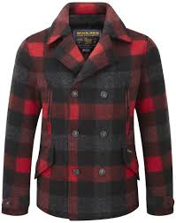 woolrich men s felted pea coat buffalo red check