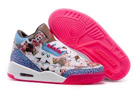 jordan shoes for girls pink and white. air jordan 3 gs \u201cfloral print\u201d white brown pink girls size cheap shoes for and