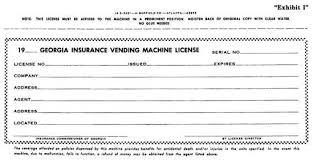 Vending Machine License New GA GAC