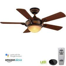 led gilded espresso ceiling fan with light kit works with google assistant and alexa