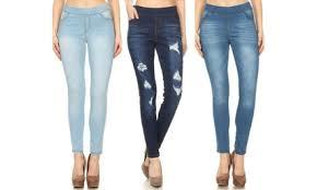 Jvini Womens Skinny Pull On Denim Jeggings 3 Pack