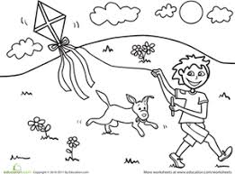 Small Picture Color the Kite Flying Fun Worksheet Educationcom