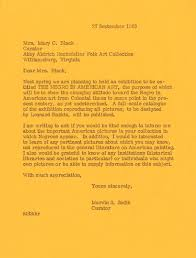 fifty years later history letter by marvin sadik sent to curator of abby aldrich folk art collection courtesy museum of art records college archives